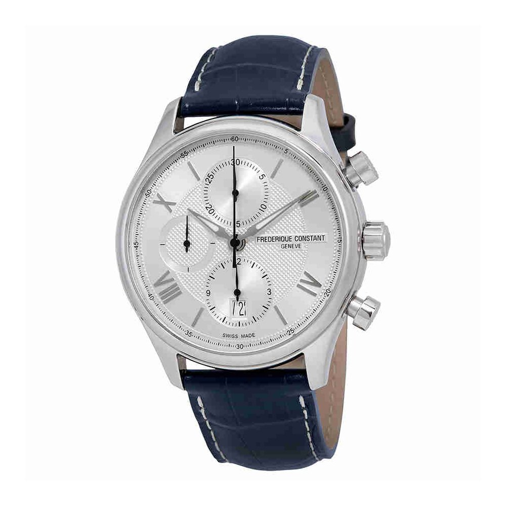 Frederique Constant Silver Dial Blue Leather Strap Men's Watch FC392MS5B6