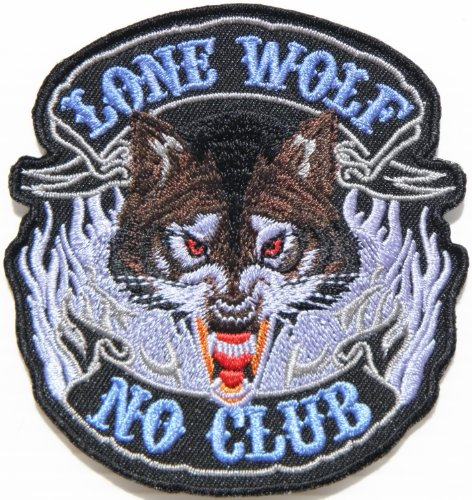 LONE WOLF NO CLUB Fox Dog Hog Outlaw Logo Lady Biker Rider Punk Rock Tatoo Jacket T-shirt Patch Sew Iron on Embroidered Sign Badge ()