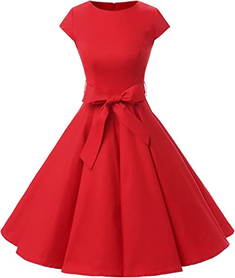 TALLA S. Dressystar Vintage 1950s Polka Dot and Solid Color Prom Dresses Cap-Sleeve Red