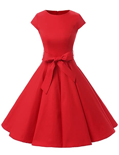 1950s Dresses, 50s Dresses | 1950s Style Dresses Dressystar Women Vintage 1950s Retro Rockabilly Prom Dresses Cap-Sleeve $28.69 AT vintagedancer.com