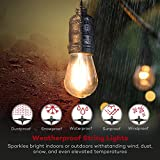 TaoTronics LED Outdoor String Lights, 50 ft Commercial Grade Outdoor Lights, 16 x S14 2W LED Bulbs, Connect up to 30 Strands, ETL Approved Weatherproof Strand for Outdoors, 110V, US Plug