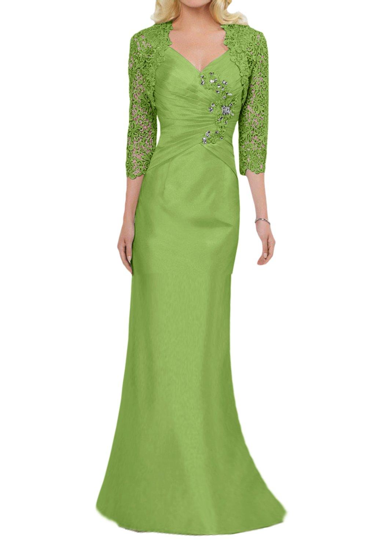 (ウィーン ブライド) Vienna Bride 披露宴用母親ドレス 結婚式母親用ドレス ショートドレス ボレロ ワンピース タイトドレス V ネック 肩紐 2点セット タフタ レース 会場 ガーデン B0727NZMHG 21W|黄緑色長 黄緑色長 21W