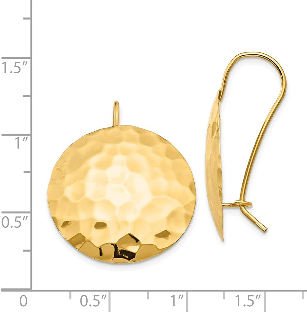 Mia Diamonds 14k Yellow Gold Satin and Diamond-Cut Square Tube Hoop Earrings