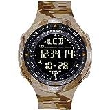 PASNEW Men's Watch,Outdoor Camouflage Sports Watch, Step Counter Intelligence Compass Multifunction Waterproof Digital Watch