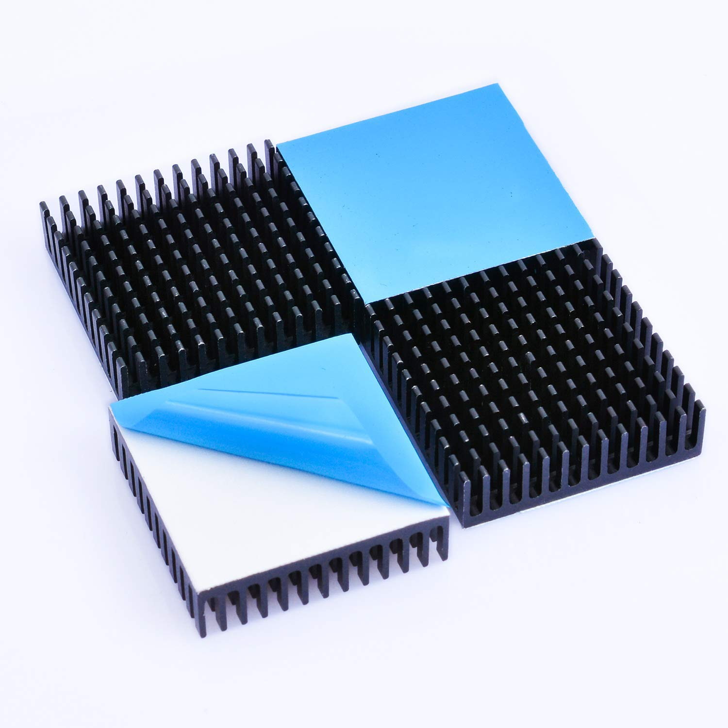 Easycargo 4pcs 40mm Heatsink Kit 40x40x11mm + 3M 8810 Thermal Conductive Adhesive Tape, Cooler Heat Sink for Cooling 3D Printers, TEC1-12706 Thermoelectric Peltier Cooler 40mmx40mmx11mm