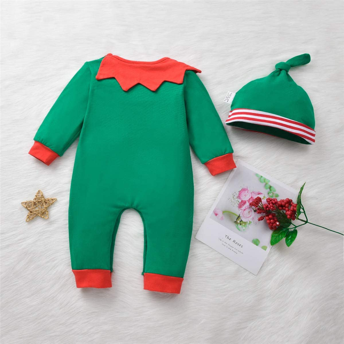 Baby-Christmas-Elf-Outfit-Onesies Jumsuit for Toddler Boys Girls Christmas Costume Pajamas Clothes