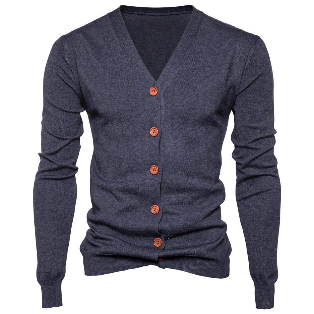 Muranba Clearance Men V Neck Button Knit Sweater Cardigan Coat
