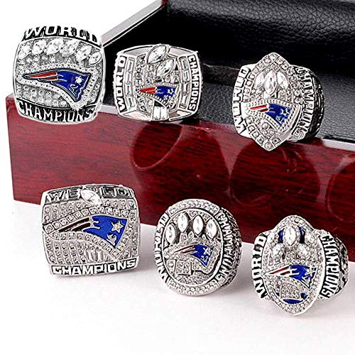 YIYICOOL New England Patriots 6 Years Rings Set, Super Bowl 2019-2001 Championship Replica Rings Size 9-12 (12, Wooden Box)