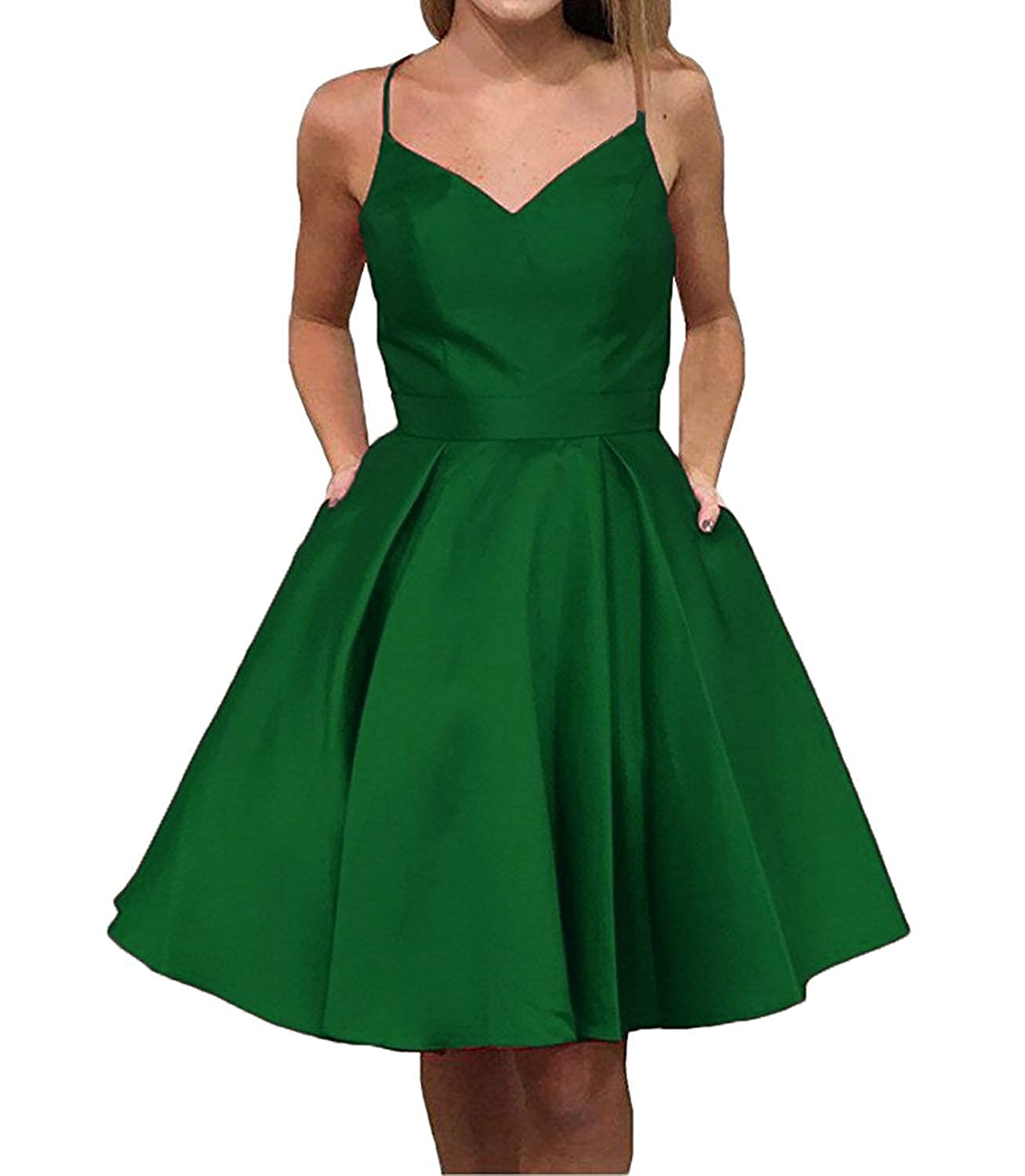 Green JQLD Cute Straps Knee Length Homecoming Dresses Short Sleeveless Party Cocktail Dress with Pockets