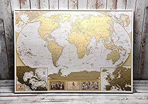 Amazoncom Antique Edition Gold Scratch Off World Map Very - Us gold map