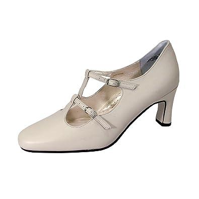 7a6395011e25 Peerage Helena Women Wide Width Leather T-Strap Double Buckles High Heel  Pumps Beige 6