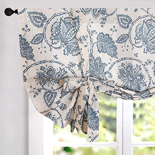 Tie Up Curtains for Windows Linen Textured Adjustable Tie-up Shade for Kitchen Rod Pocket Medallion Design Rustic Jacobean Floral Printed Tie-up Valance (1 Panel 45 Inches Teal) ()