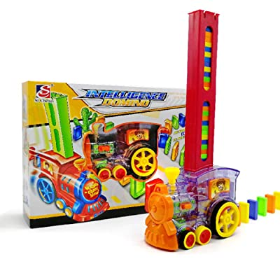 Hapshop Domino Rally Electronic Train Model Colorful Toy Set Girl Boy Children Kids Gift: Garden & Outdoor