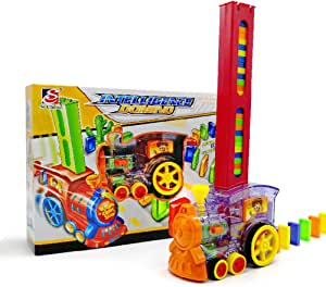 feelingood Domino Rally Electronic Train Model Colorful Toy Set Girl Boy Children Kids Gift