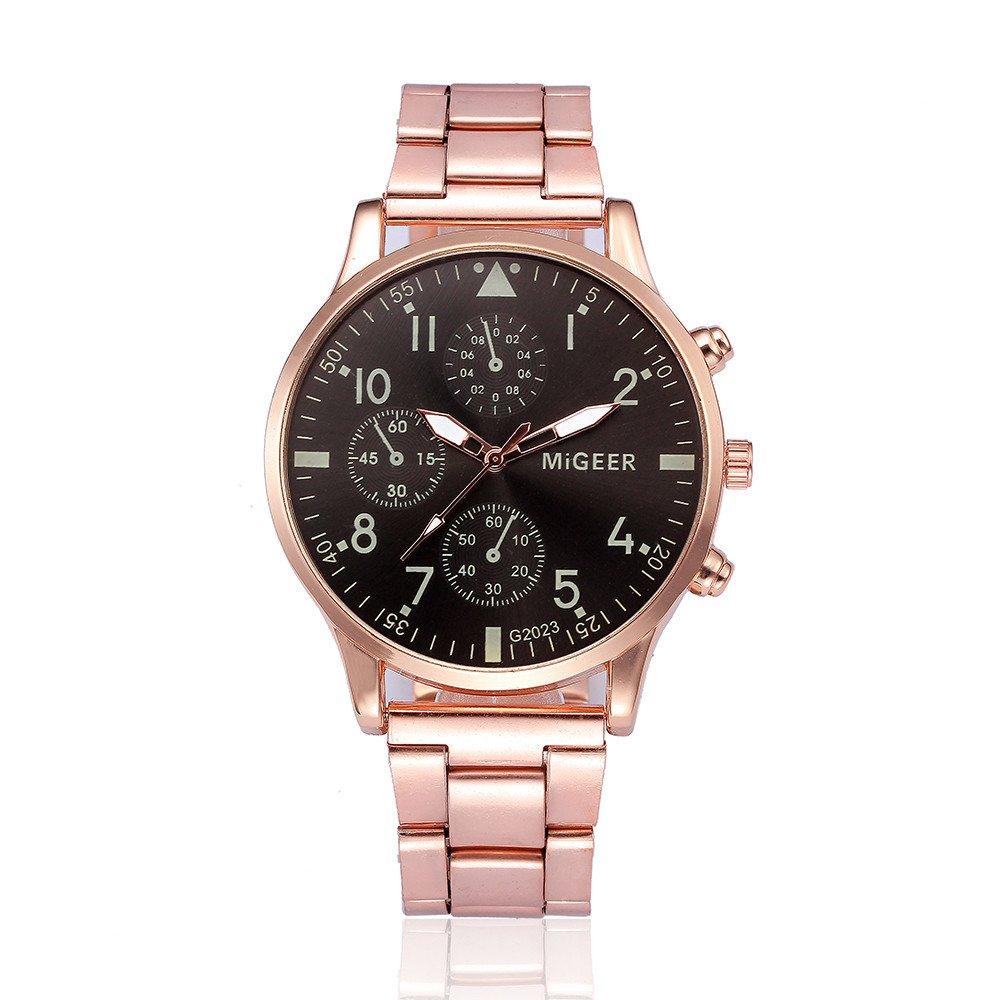 Fashion Man Crystal Stainless Steel Analog Quartz Wrist Watch,Outsta Gift Watches Round Case Wristwatches (E)