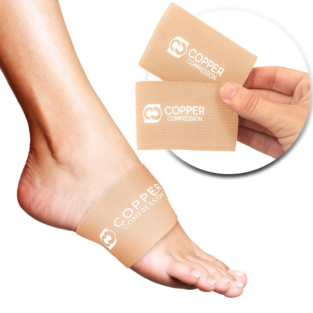 Copper Compression Copper Arch Supports - 2 Plantar Fasciitis Brace Sleeves. Guaranteed Highest Copper Content Support Sleeve. Braces for Foot Care, Heel Spurs, Feet Pain, Flat Arches (Nude Color) by Copper Compression