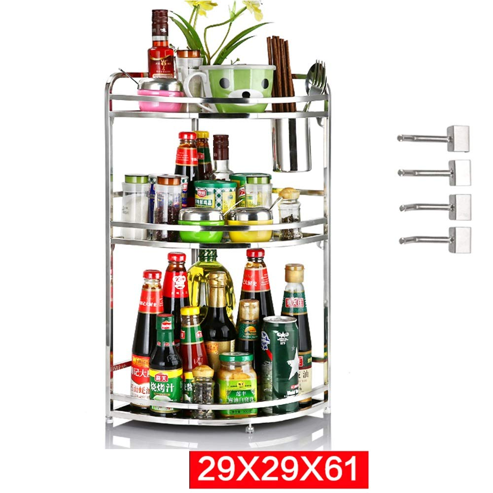 HUO Stainless Steel Kitchen Rack Corner Wall Hanging Seasoning Rack Multifunction (Size : 2961CM)