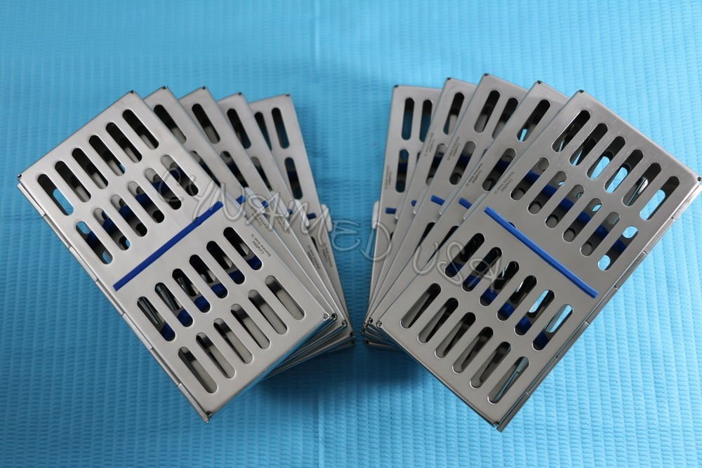 NEW CYNAMED USA SET OF 10 EACH DENTAL AUTOCLAVE STERILIZATION CASSETTE RACK BOX TRAY FOR 7 INSTRUMENTS