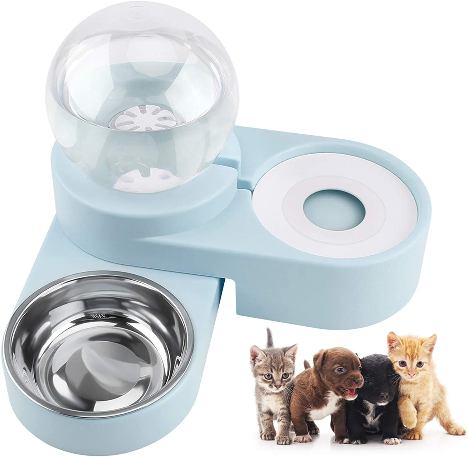 FPVERA Double Cat Bowls with Stand Pet Water Bowl and Food Bowl Set Dog Bowls and Cat Food Bowls with Pets Automatic Water Dispenser for Small Dogs and Cats