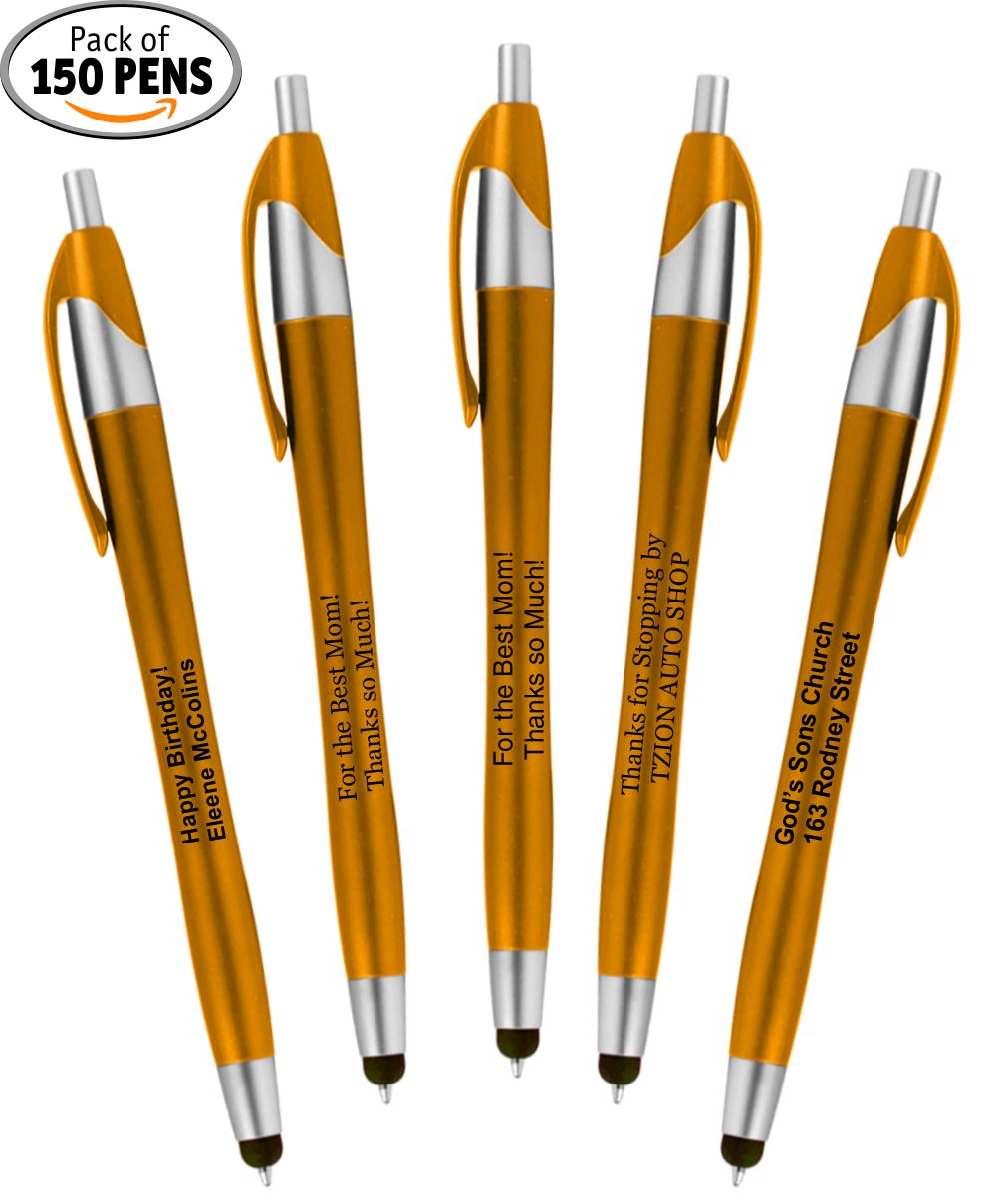 Personalized Writing Ink Ballpoint Novelty Pens, Custom Printed with Your Logo & Text''Click to Write - Click for Stylus Tip!'' Works with Android, iPhone, iPads (Pack of 150 Pens - Orange Barrels)