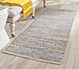 Safavieh Cape Cod Collection CAP351A Hand Woven Flatweave Geometric Diamond Natural and Blue Jute Area Rug (2'3'' x 4')