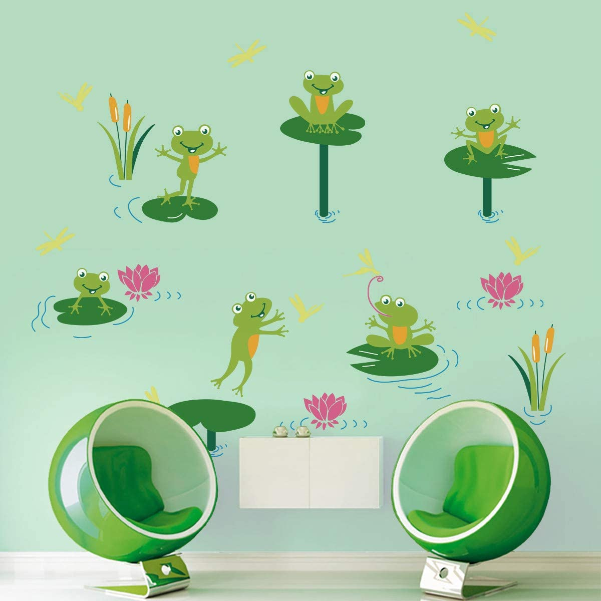 ufengke Pond Frogs Wall Stickers DIY Removable Lotus Leaf Wall Decals Art Decor for Kids Nursery Bedroom Living Room