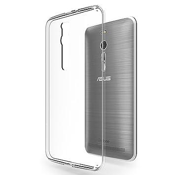 Azorm Crystal Edition: carcasa de silicona para Asus ZenFone 2 (5,5 pulgadas), transparente, en gel de poliuretano, protección flexible antichoques; ...
