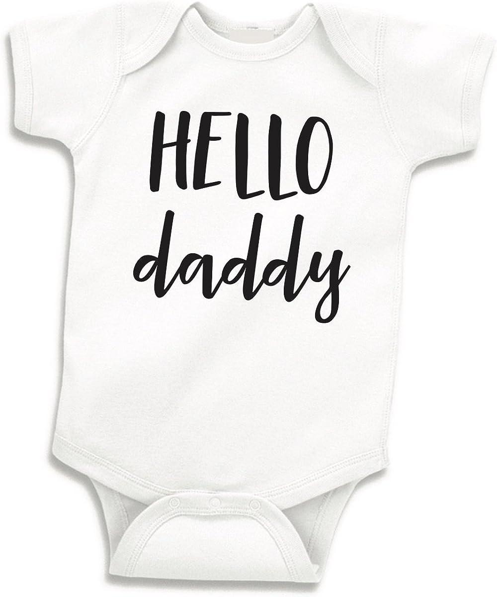 Bump and Beyond Designs Hello Daddy Surprise Pregnancy Announcement to Husband Newborn Bodysuit