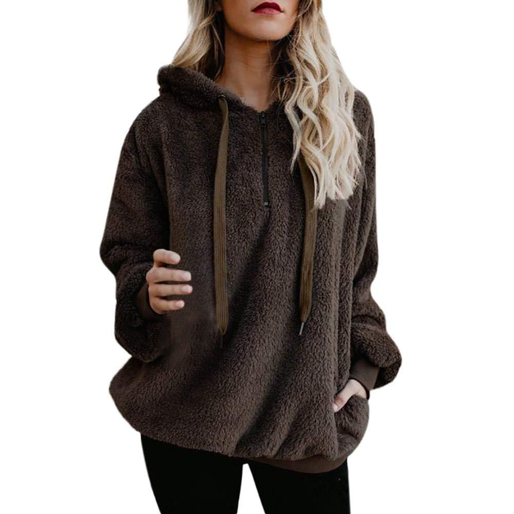 Oliviavan Women Casual Coat, Ladies Winter Warm Hooded Wool Zipper Pockets Cotton Coat Outwear
