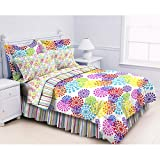 Polka Dot Stripes Teens Kids Girls Full Comforter 8 Piece Bed Bag Set