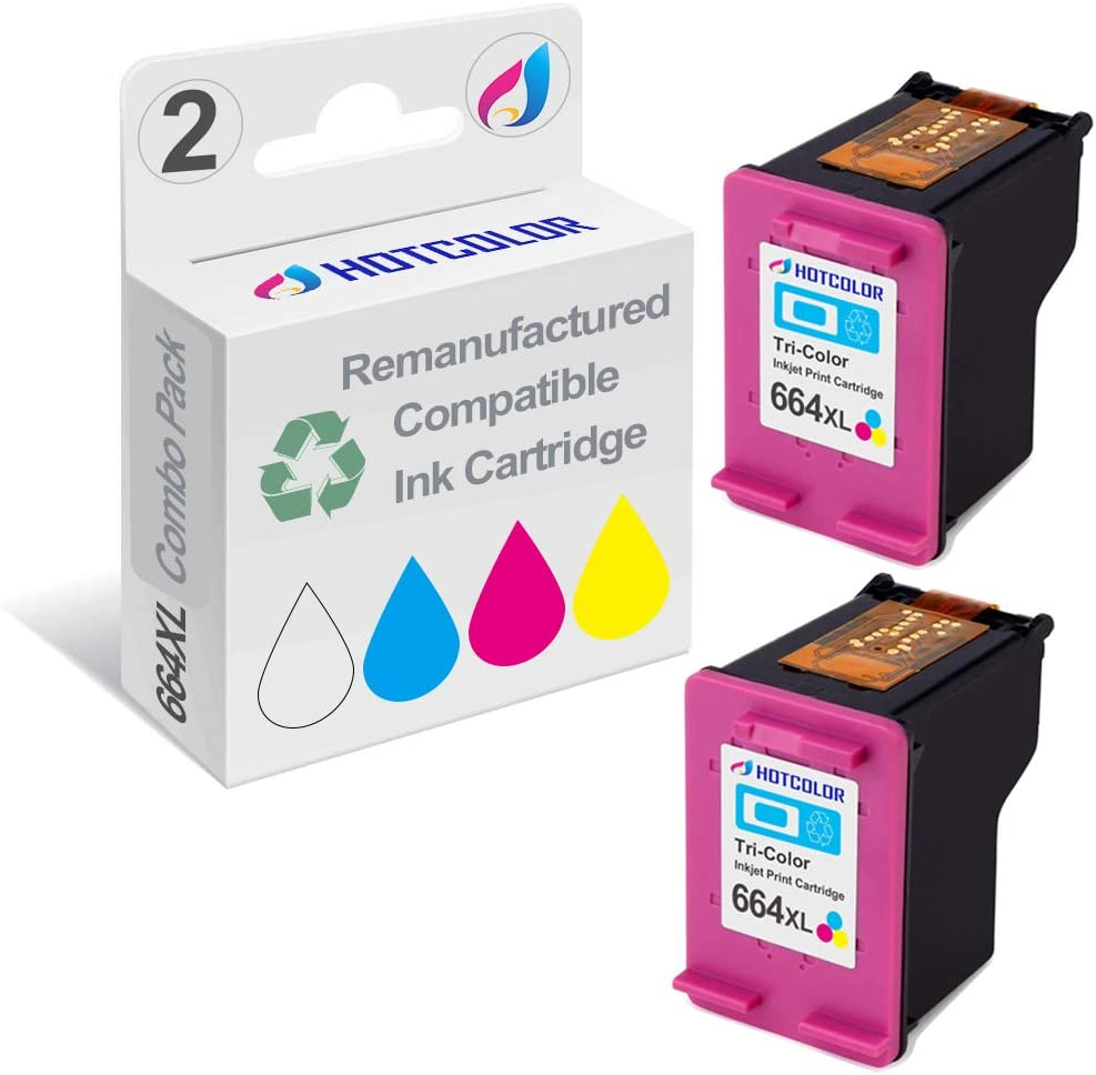 Black, 2 Pack ZET Remanufactured Ink Cartridge Replacement for HP 664 XL 664XL Used in DeskJet 1115 2136 3636 3836 4536 4676 Printer