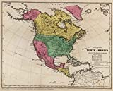 School Atlas | 1845 Political Map Of North America | Historic Antique Vintage Reprint