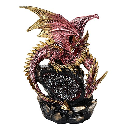 Pacific Giftware Double Headed Red Dragon On LED Lighted Geode Rock Cavern Figurine Tabletop Display