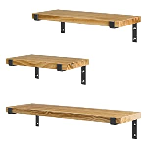 HOSOM Wall Mounted Shelves Set of 3, Rustic Wood Wall Storage Shelves for Bathroom, Living Room and Kitchen