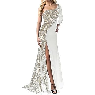 Vestito Monospalla Donna Elegante Abito Lungo a Sirena in Pizzo Moda Vestiti  Spacco Davanti Sexy Abiti 5d8b2deb251