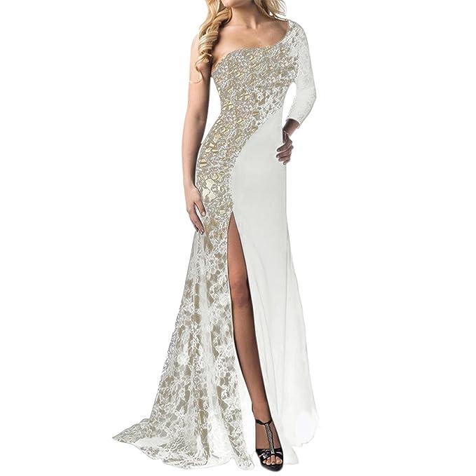 Vestito Monospalla Donna Elegante Abito Lungo a Sirena in Pizzo Moda  Vestiti Spacco Davanti Sexy Abiti a6f3bc9c23a
