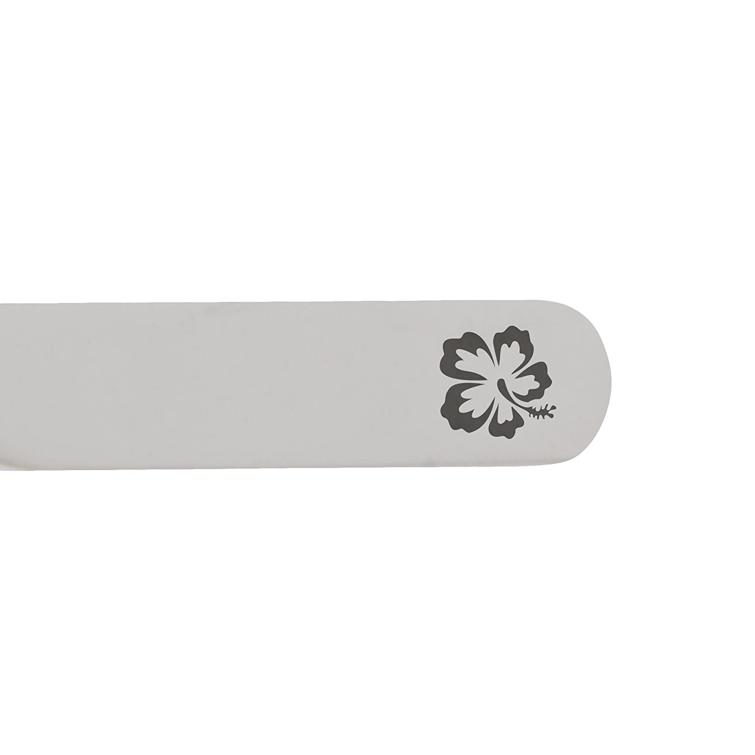2.5 Inch Metal Collar Stiffeners Made In USA MODERN GOODS SHOP Stainless Steel Collar Stays With Laser Engraved Hibiscus Design