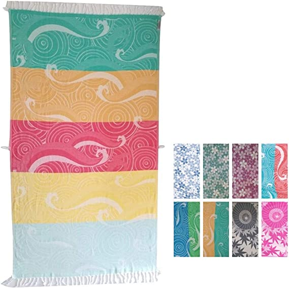 100 Turkish Cotton Beach Towel Large Quick Dry Bath Towels Peshtemal Hammam Fouta For Pool Spa Travel Yoga Ultra Absorbent Soft Sand Free Lightweight Colorful Striped Kitchen Dining