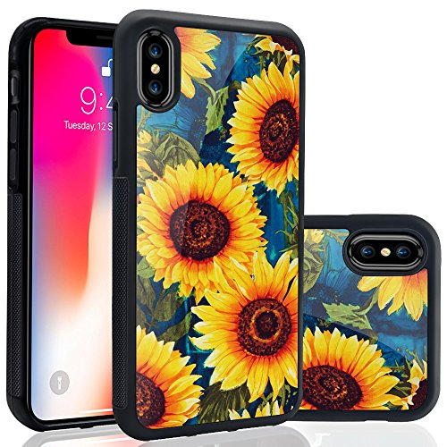 Apple Sunflower (Ademen iPhone X 5.8 inch Case, Sunflower Design Hard PC Soft Silicone Protective Durable Shockproof Case For iPhone X / iPhone 10)