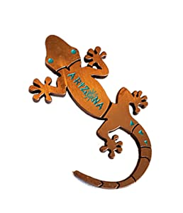 Gecko Magnet (Bronze) Decorative Metal Refrigerator Magnet Southwest Gift Idea - Arizona Souvenir