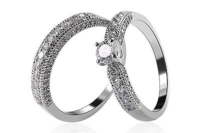 Amazon Com Akvode Women S White Sapphire Aaa Cz Wedding Rings Set