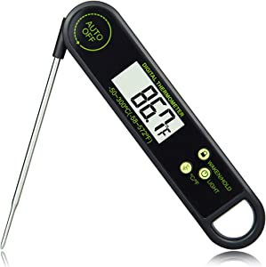 Menecor Instant Read Meat Thermometer Super Fast Digital Food Thermometer Waterproof Stainless Steel Probe,3V button Battery For Grill Cooking Meat Kitchen Candy,Black