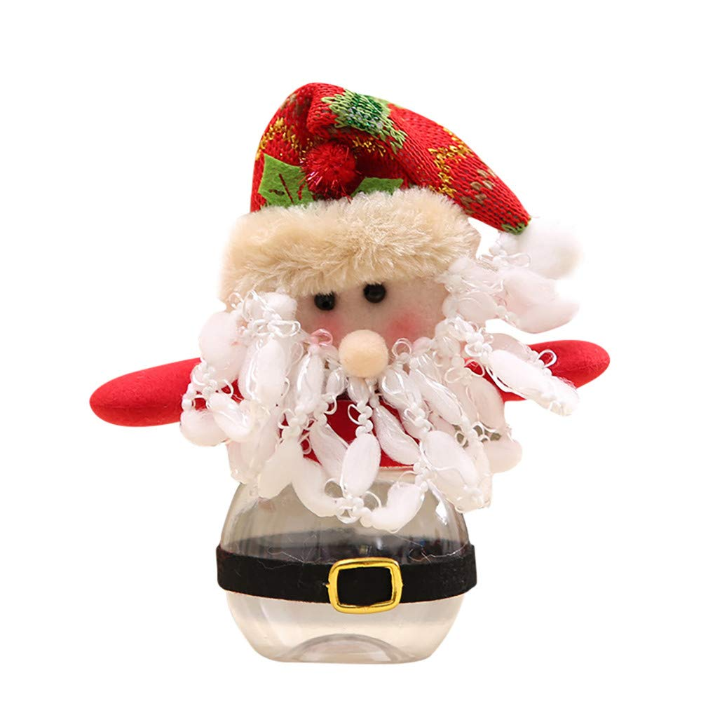 Willsa Cute Exquisite Santa Claus Snowman Elk Christmas Candy Packaging Christmas Candy Jar Decoration