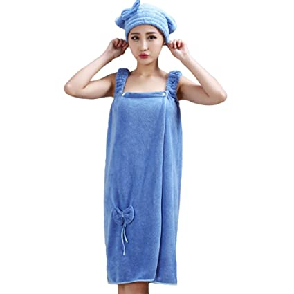 29a71a0490 W Microfiber Towel Bow-Knot Bathrobes Women s Bath Shower with Dry Hair Cap
