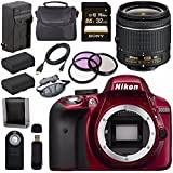 Nikon D3300 DSLR Camera with AF-P 18-55mm VR Lens (Red) + EN-EL14 Replacement Lithium Ion Battery + External Rapid Charger + Sony 32GB SDHC Card + Carrying Case Bundle