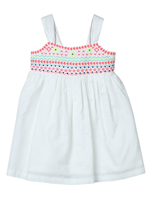 a375409439b Beebay Girls 100% Cotton Woven Neon Embroidered Sundress (White