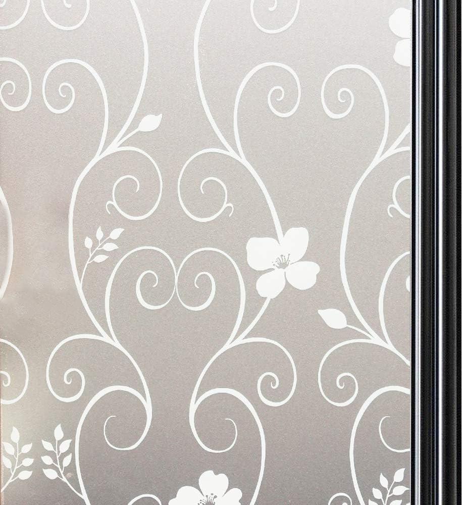 Qualsen Vinilo para Ventana Vinilo para Cristal de Privacidad Vinilo de Ventana Esmerilada Decorativa para Baño Despacho Cocina Anti-UV 90 x 200 cm, Flor Blanca: Amazon.es: Hogar