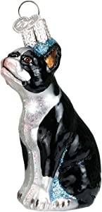 Old World Christmas Dog Collection Glass Blown Ornaments for Christmas Tree Boston Terrier