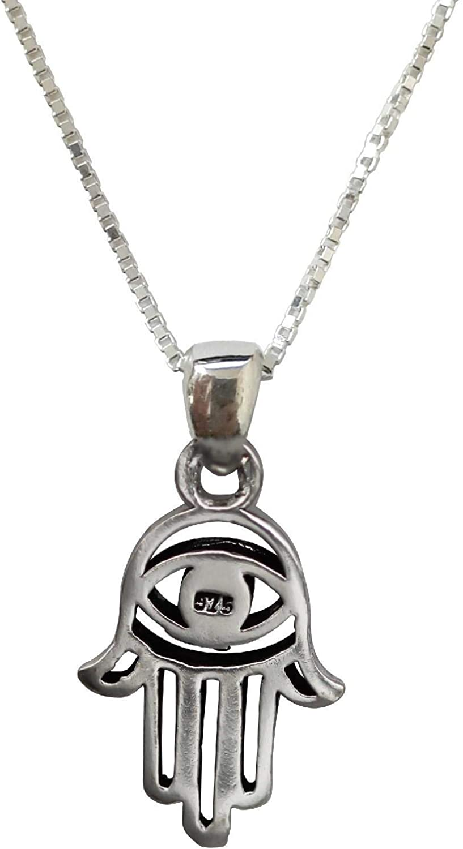 Body-Soul-n-Spirit 925 Sterling Silver Hamsa Hand Fatima Stylish Pendant Necklace Kabbalah Charm