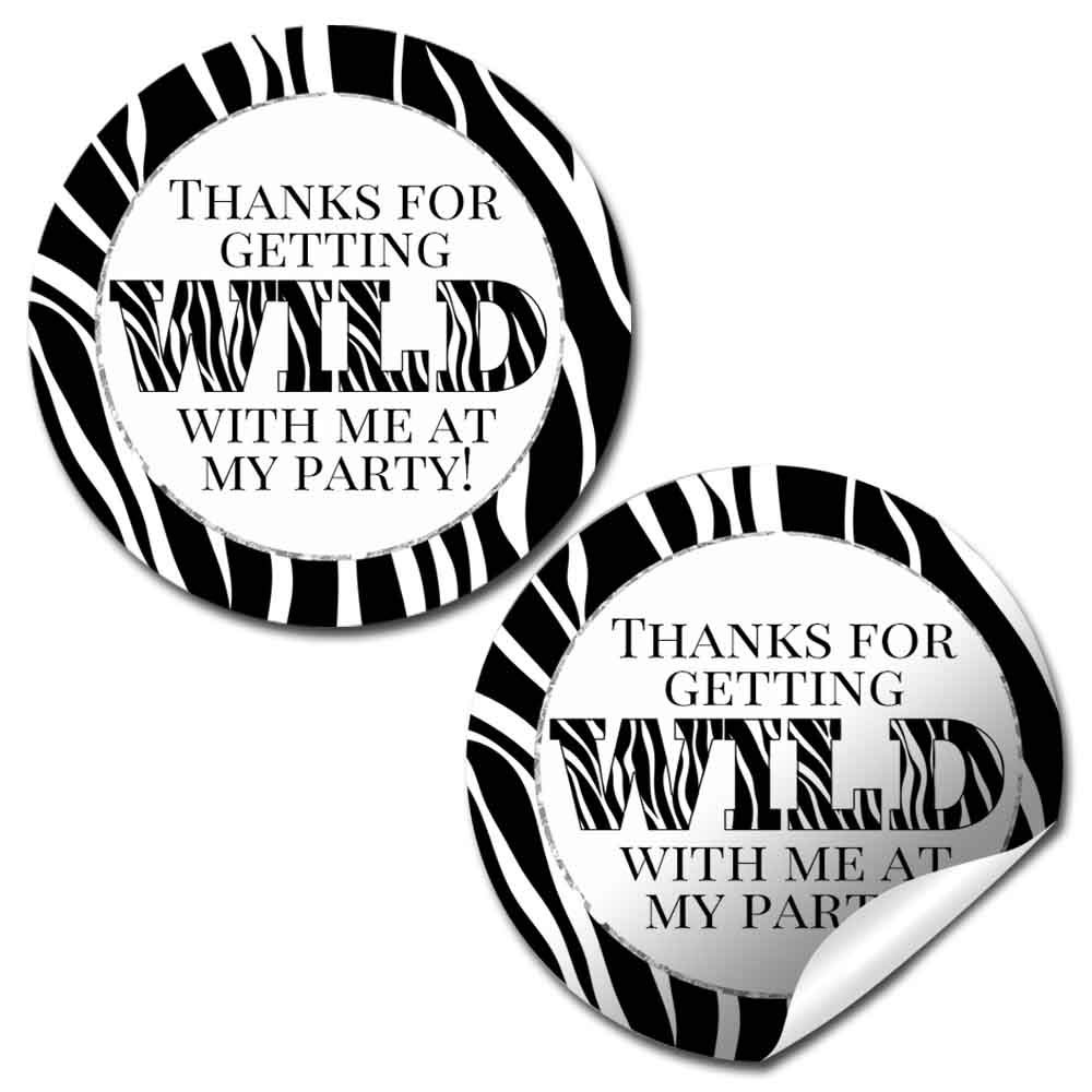 Amazon com wild zebra print themed thank you sticker labels 40 2 party circle stickers by amandacreation great for party favors envelope seals goodie